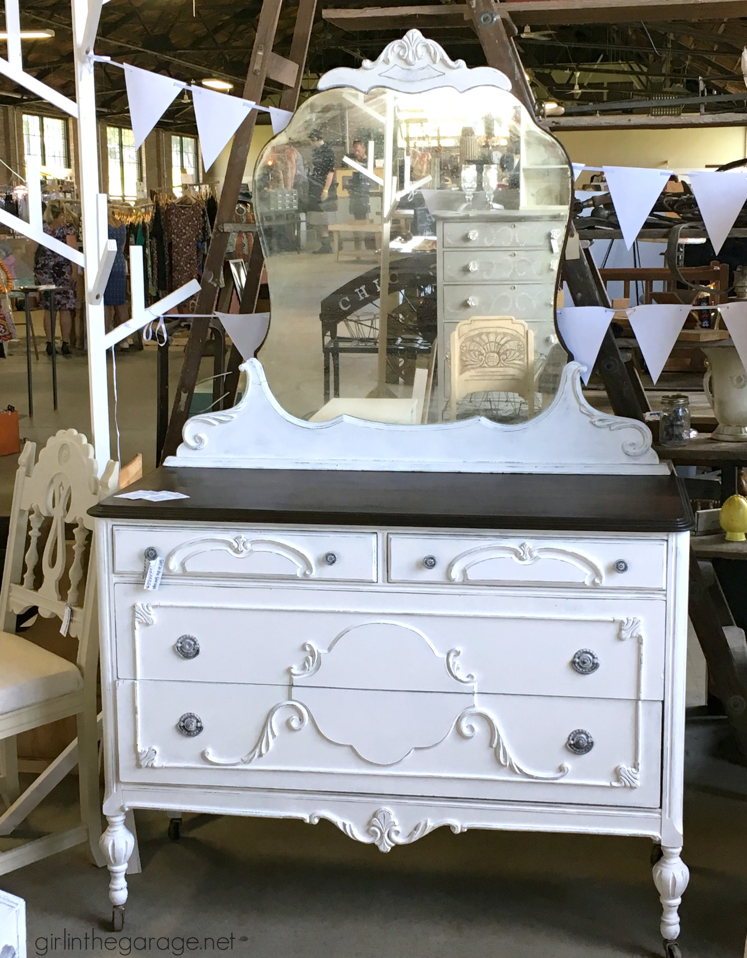 How to repair and revive an antique vanity makeover - Girl in the Garage - The Antique Vanity Makeover - Trashy To Treasure - Girl In The Garage®