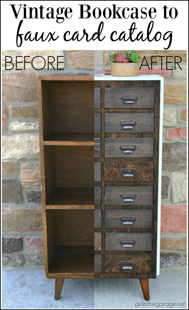 Bookcase Makeover to Faux Card Catalog - Girl in the Garage