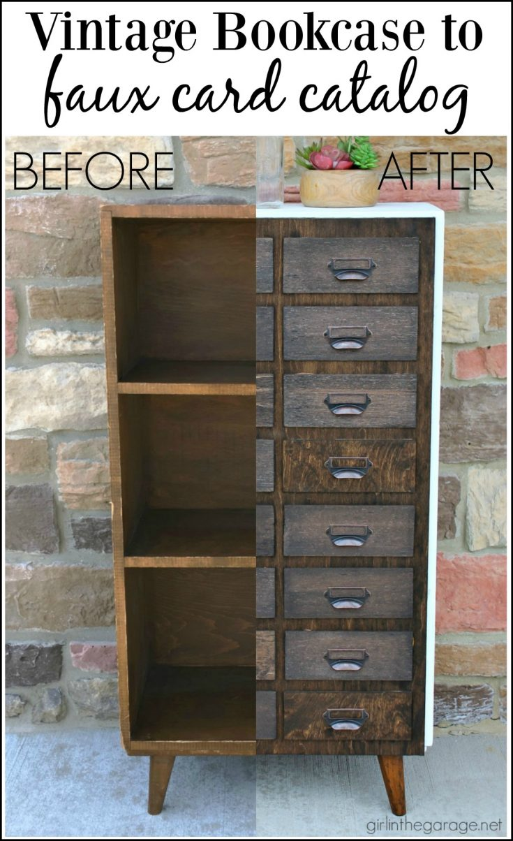 Bookcase Makeover to Faux Card Catalog with Door