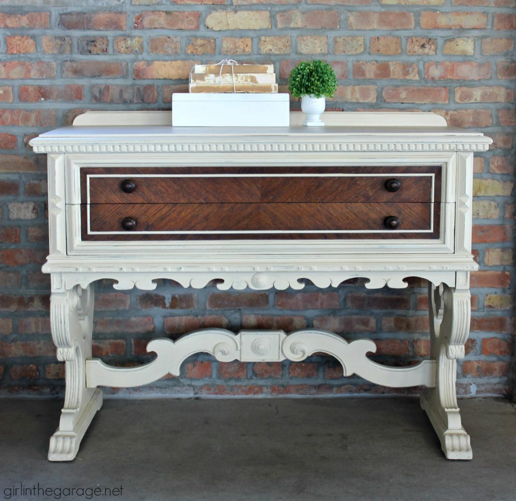 Stunning two-tone antique sideboard makeover - Girl in the Garage