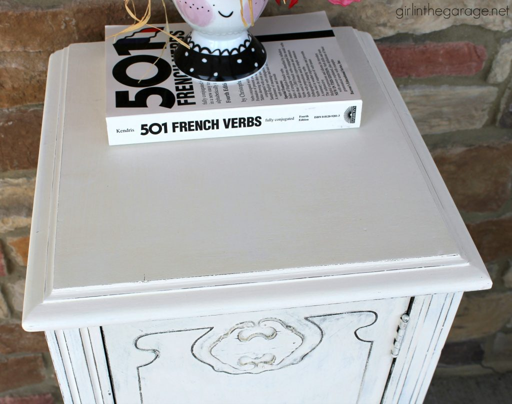 Antique Nightstand Makeover with Damaged Veneer - Girl in the Garage