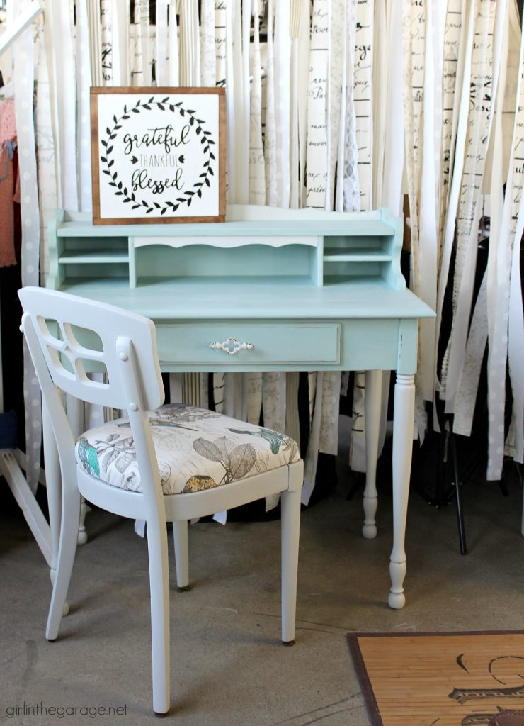 Mismatched vintage chair and desk makeover - by Girl in the Garage