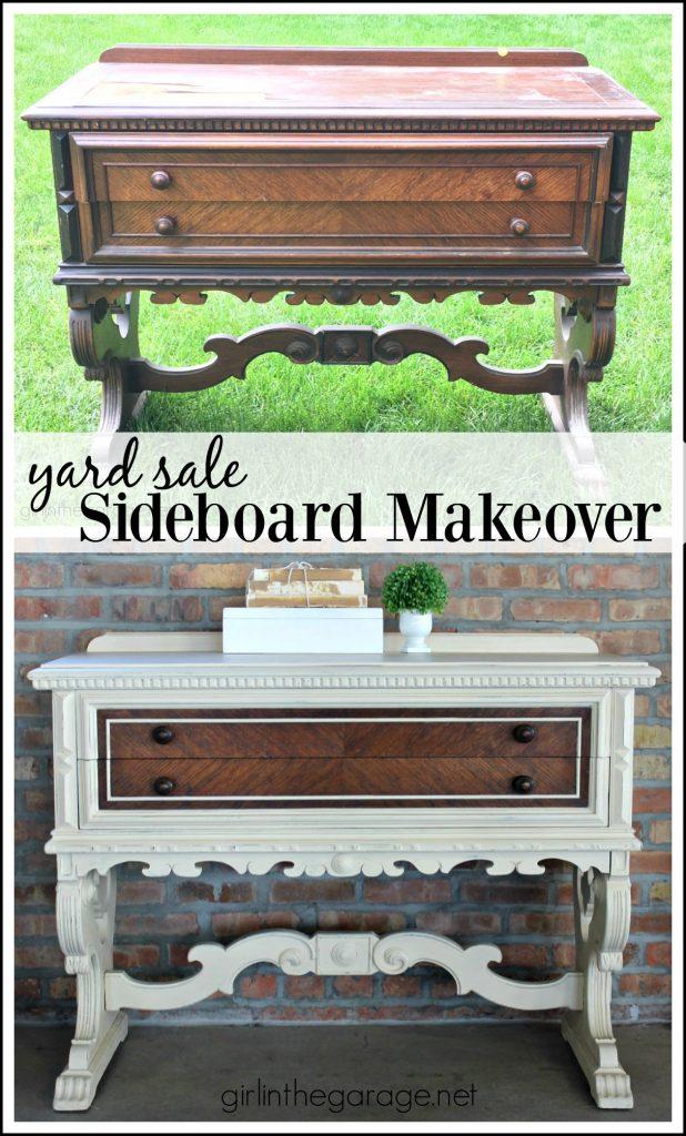 Yard Sale Antique Sideboard Makeover - Girl in the Garage