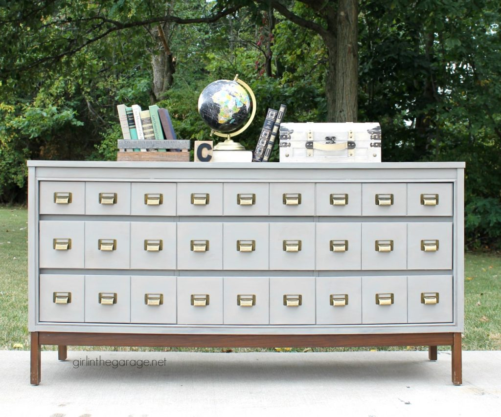 DIY faux card catalog - thrifted dresser makeover - by Girl in the Garage