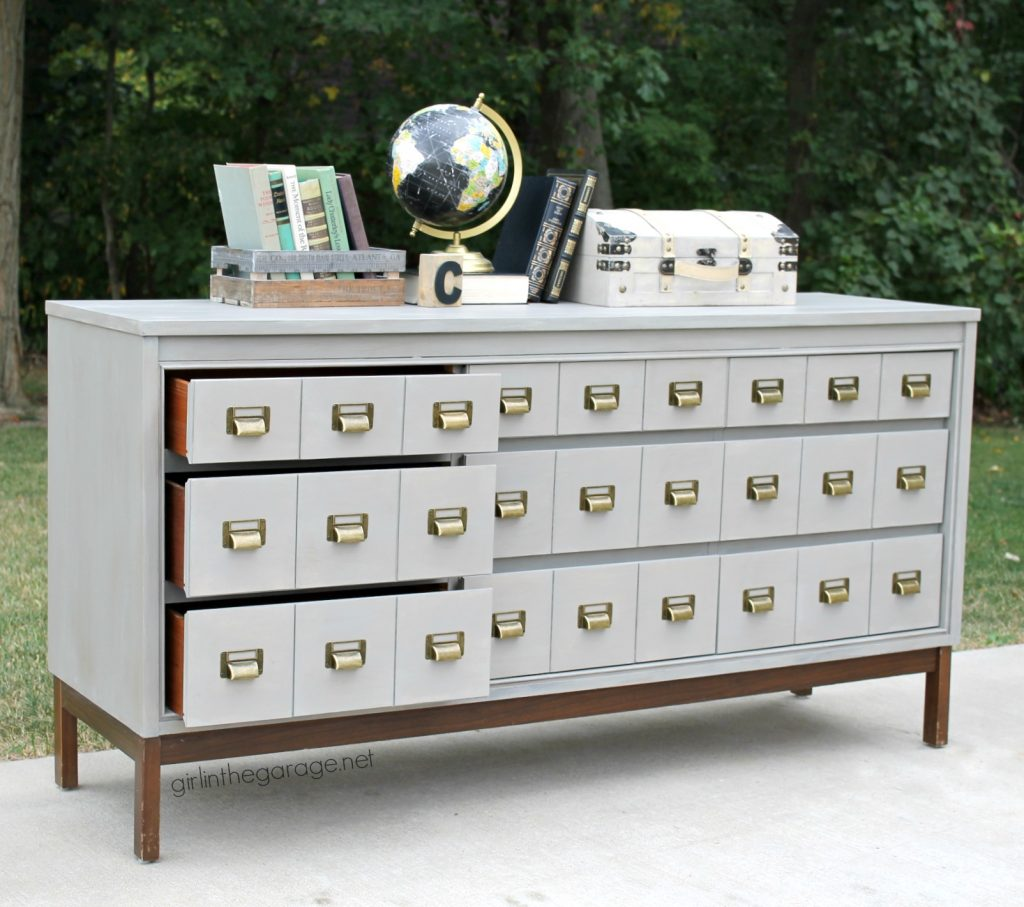 Midcentury dresser upcycled into faux card catalog with painted faux industrial metal finish. How to Chalk Paint Furniture - DIY Furniture Makeover Ideas by Girl in the Garage