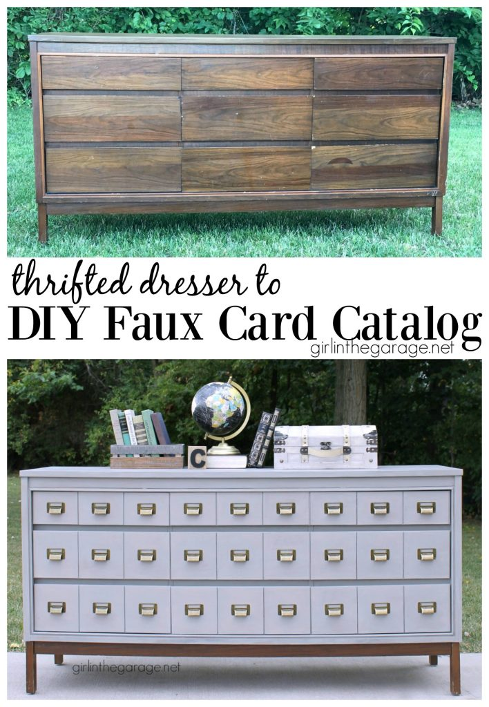 Thrifted Dresser to DIY Faux Card Catalog - Girl in the Garage