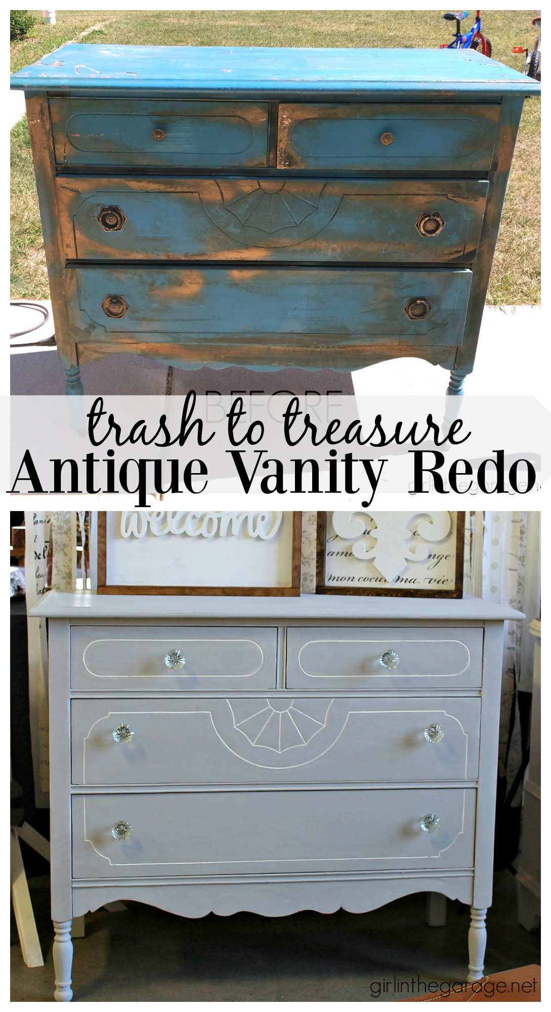 Painted Antique Dresser Makeover In The Garage