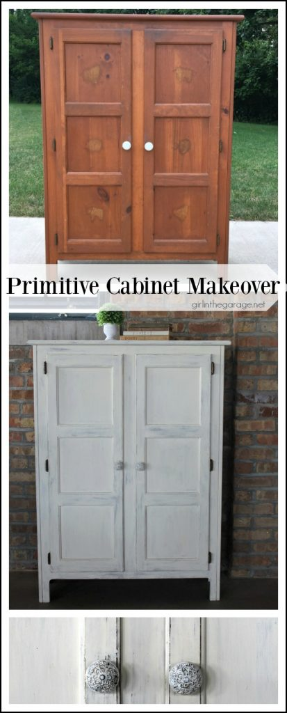Primitive storage cabinet makeover with Chalk Paint and lightly distressed. By Girl in the Garage