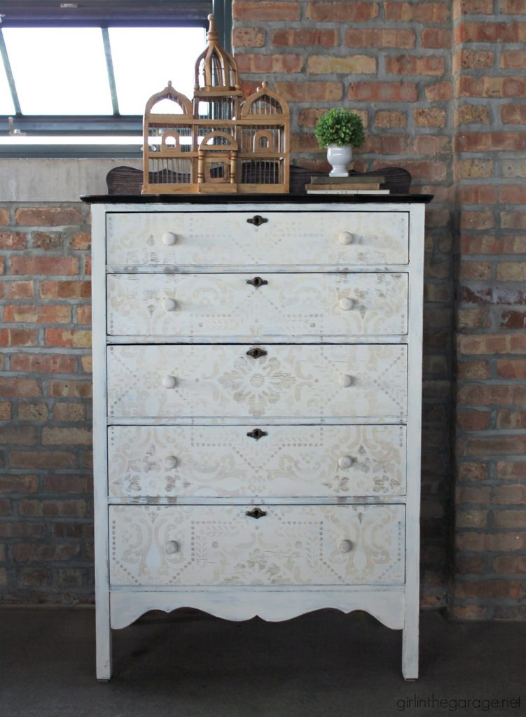 Antique highboy stenciled painted dresser - Girl in the Garage