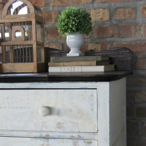 Rustic Stenciled Antique Dresser Makeover