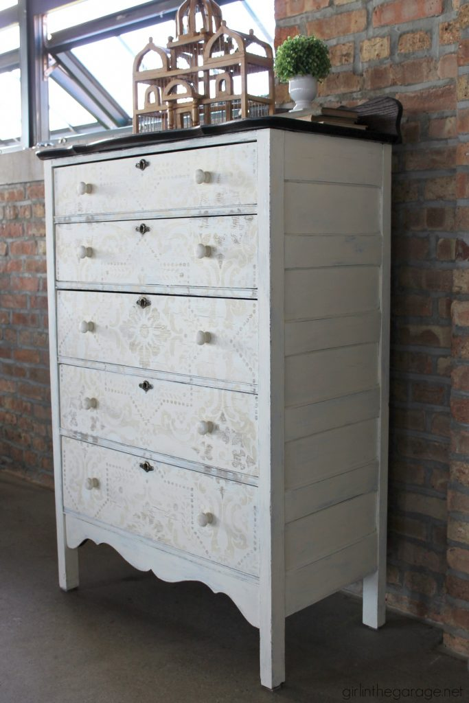 Antique dresser makeover - yard sale highboy with Chalk Paint, stencil, and decoupage drawers - a soft rustic bohemian look by Girl in the Garage