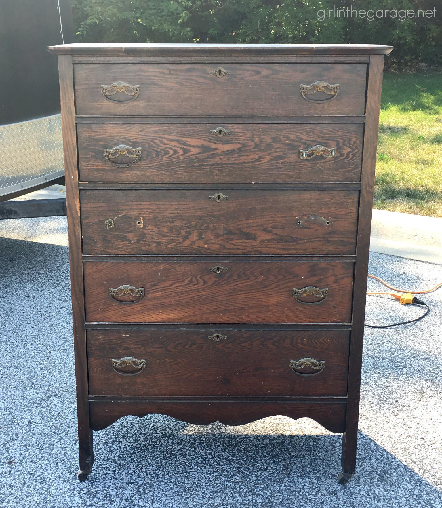 Rustic Stenciled Antique Dresser Makeover