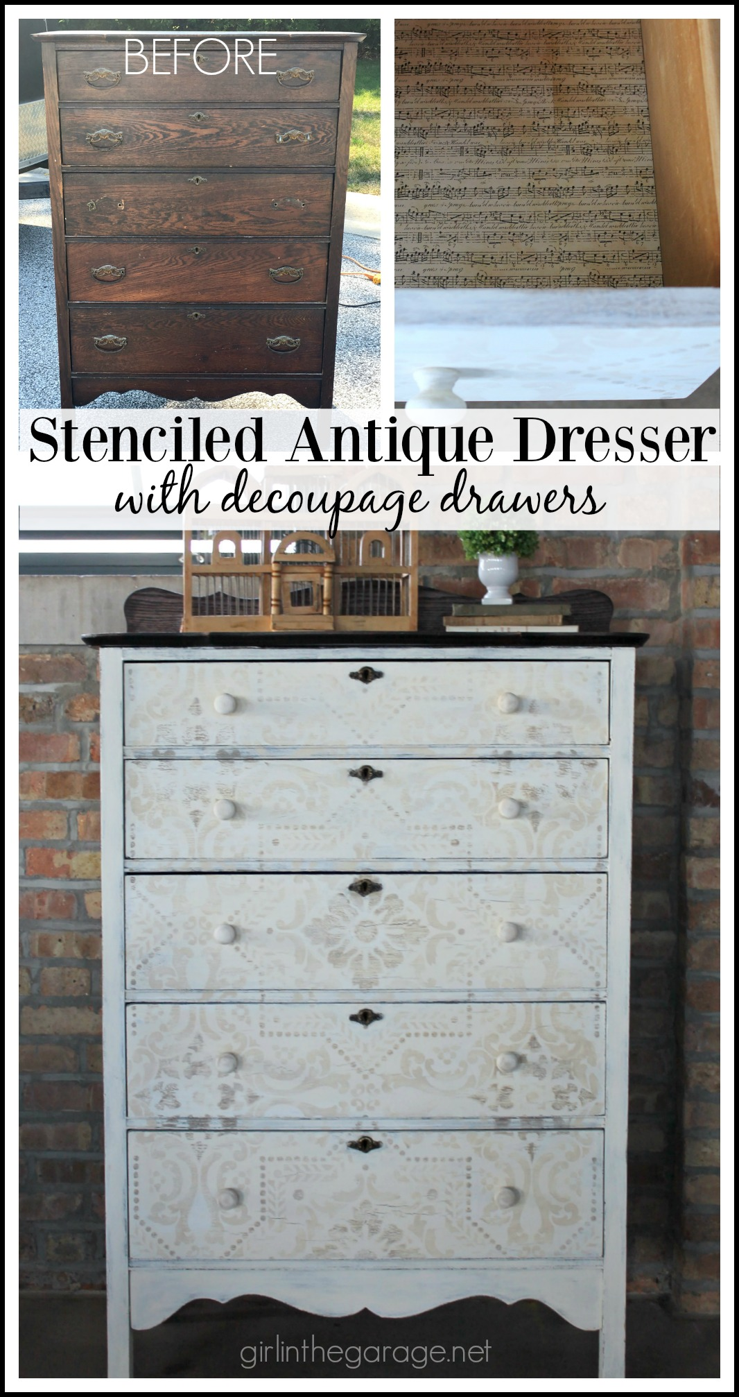 antique looking dresser oak antique dresser makeover yard sale highboy with chalk paint stencil and decoupage drawers rustic stenciled dresser makeover girl in the garage
