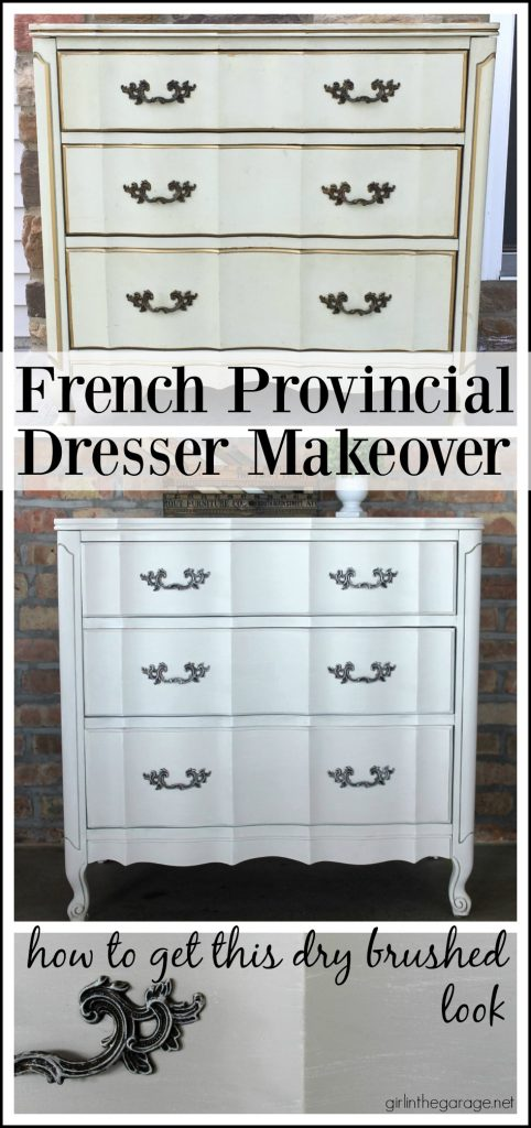 Vintage French Provincial dresser makeover updated with dry brushed paint technique using Fusion Mineral Paint and Annie Sloan Chalk Paint. by Girl in the Garage