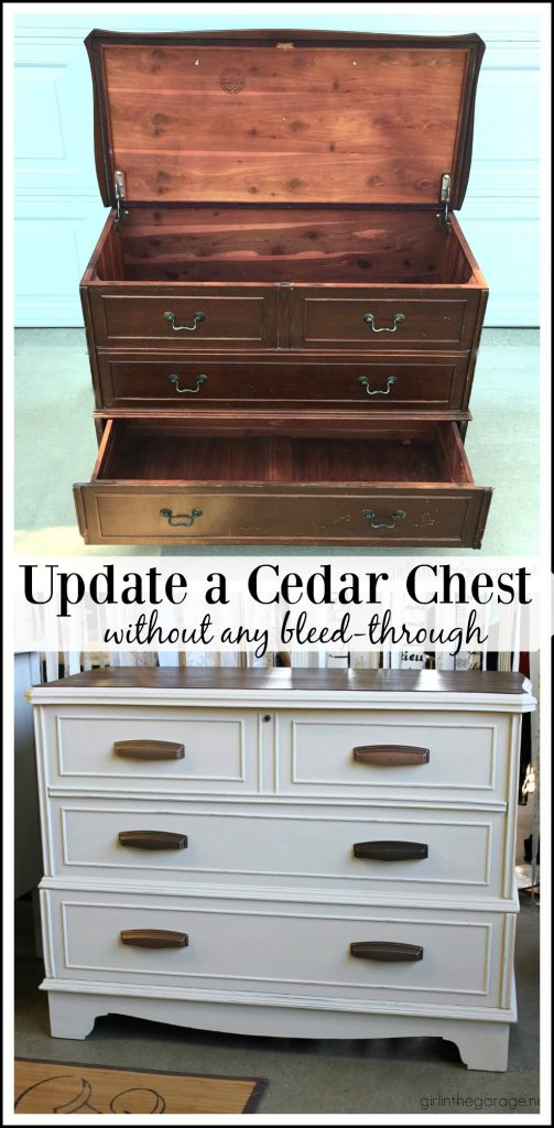 How to paint a cedar chest without bleed through - Furniture makeover advice by Girl in the Garage
