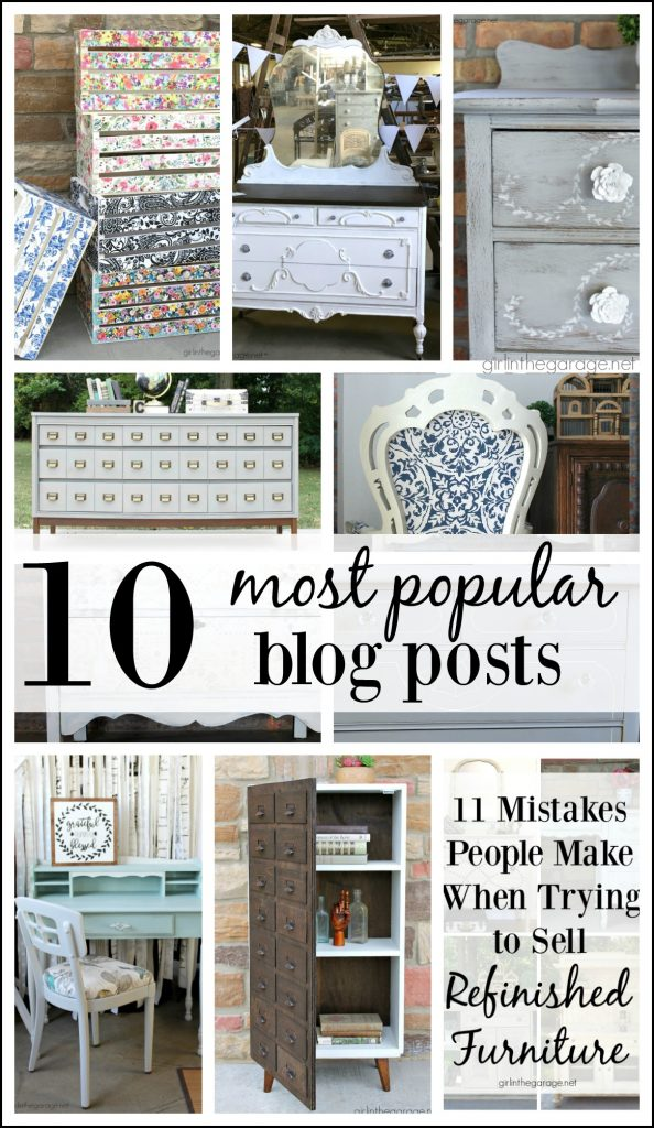 Most popular blog posts - Featuring furniture makeovers, reupholstery, DIY home decor, and advice on selling refinished furniture as a business. By Girl in the Garage