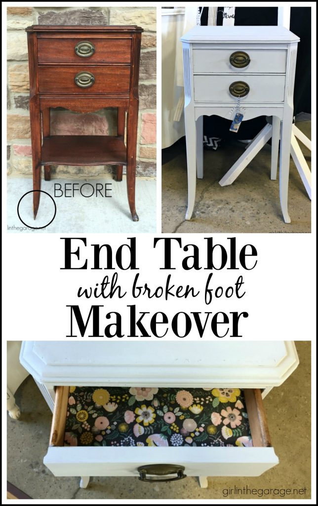 DIY End Table Makeover - Annie Sloan Chalk Paint - Decoupage drawers - by Girl in the Garage