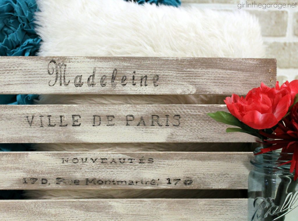 How to Paint a DIY Weathered Crate with French Image Transfer - Girl in the Garage