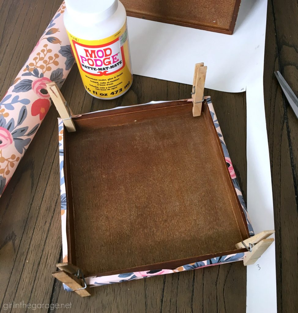DIY storage box makeover with decoupage wrapping paper from Rifle Paper Co. by Girl in the Garage