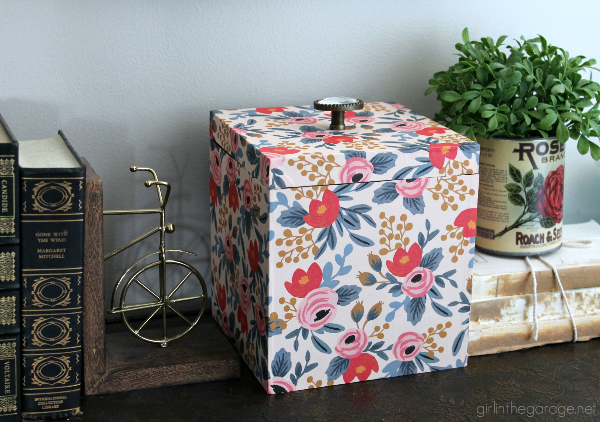 ... DIY Storage Box Makeover With Decoupage Wrapping Paper From Rifle Paper  Co. By Girl In