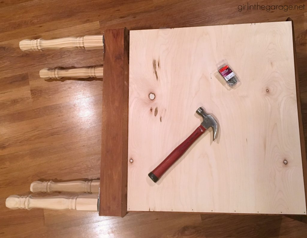 DIY curio cabinet makeover with Chalk Paint. How to add legs to furniture. By Girl in the Garage