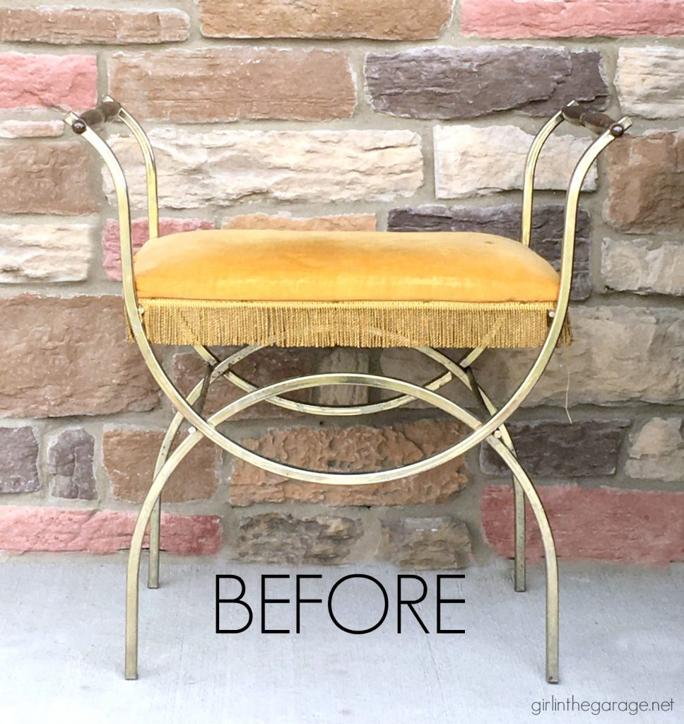 DIY Vintage vanity bench makeover - reupholstered and then updated with Fusion Mineral Paint. By Girl in the Garage
