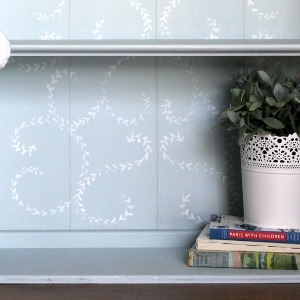 Stenciled Bookcase Makeover