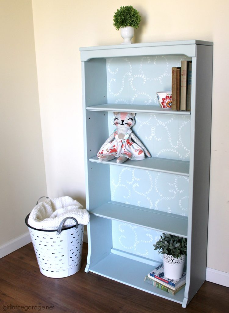 Thrifted hutch to DIY stenciled bookcase makeover with Fusion Mineral Paint - tutorial by Girl in the Garage