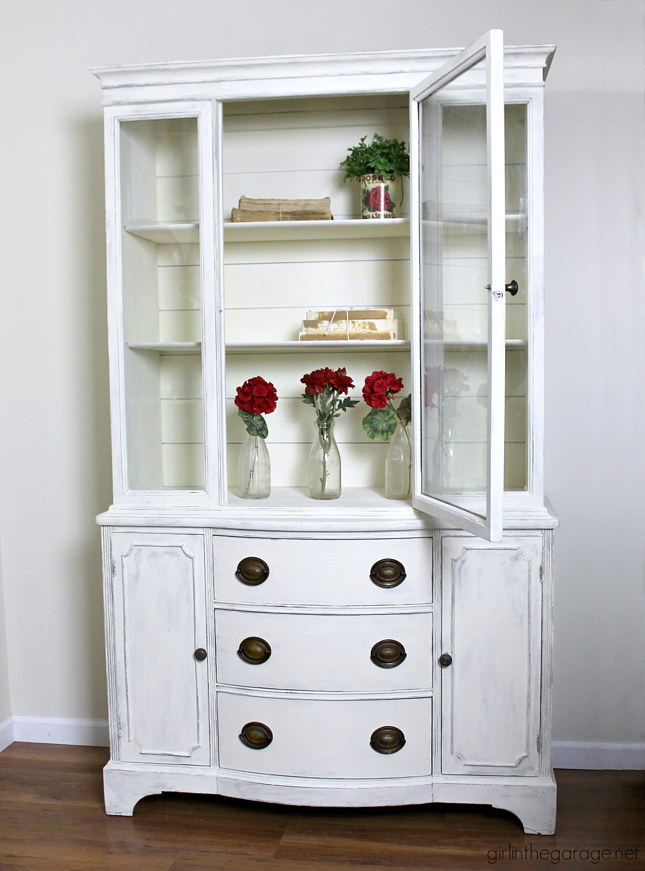 Farmhouse China Cabinet Makeover With Shiplap Girl In The Garage