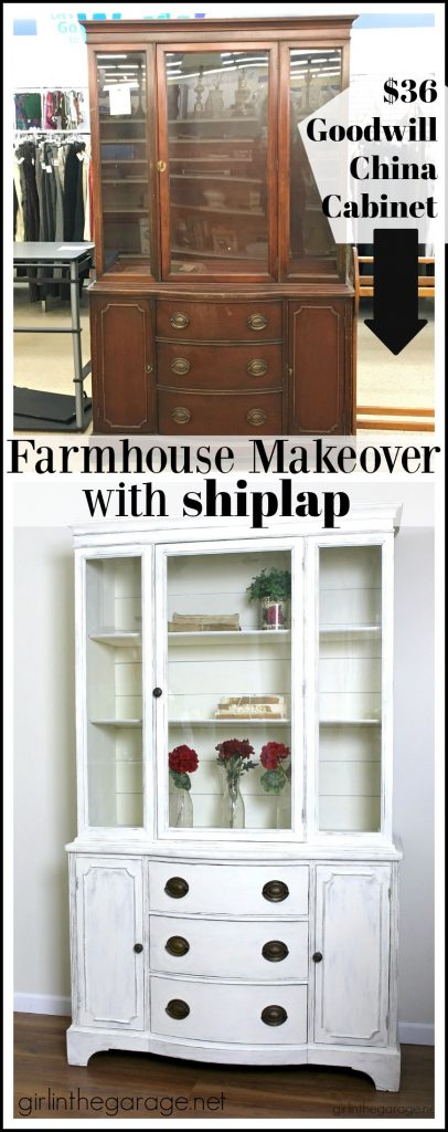 Goodwill antique china cabinet makeover with Chalk Paint and shiplap for a fresh farmhouse look - DIY tutorial by Girl in the Garage