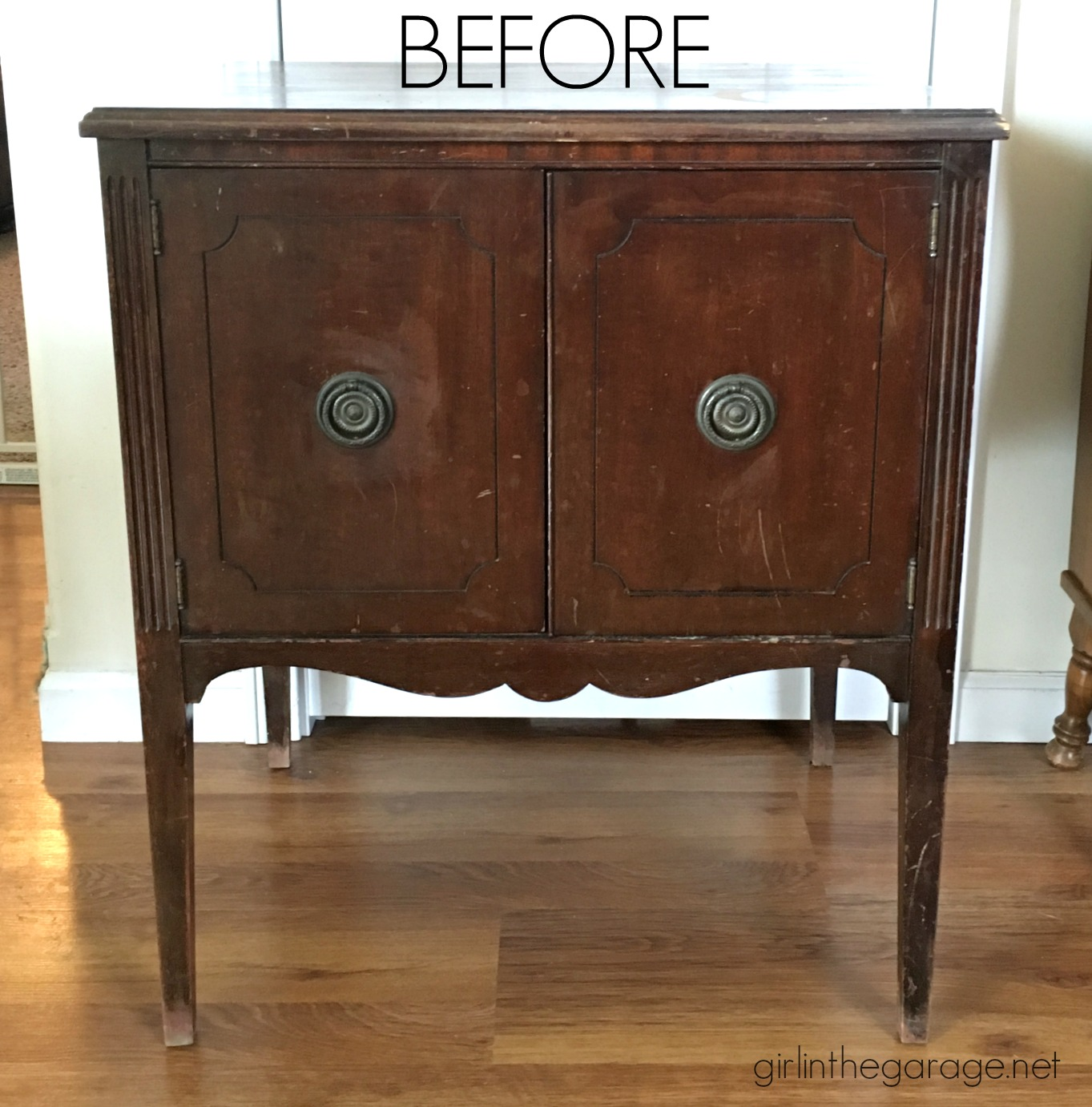 DIY record cabinet makeover repurposed to faux DIY card catalog with Chalk Paint - tutorial by Girl in the Garage