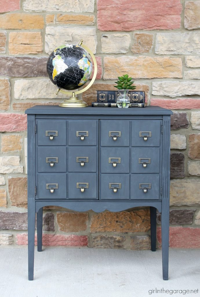 Upcycled record cabinet makeover to faux DIY card catalog with Chalk Paint - tutorial by Girl in the Garage