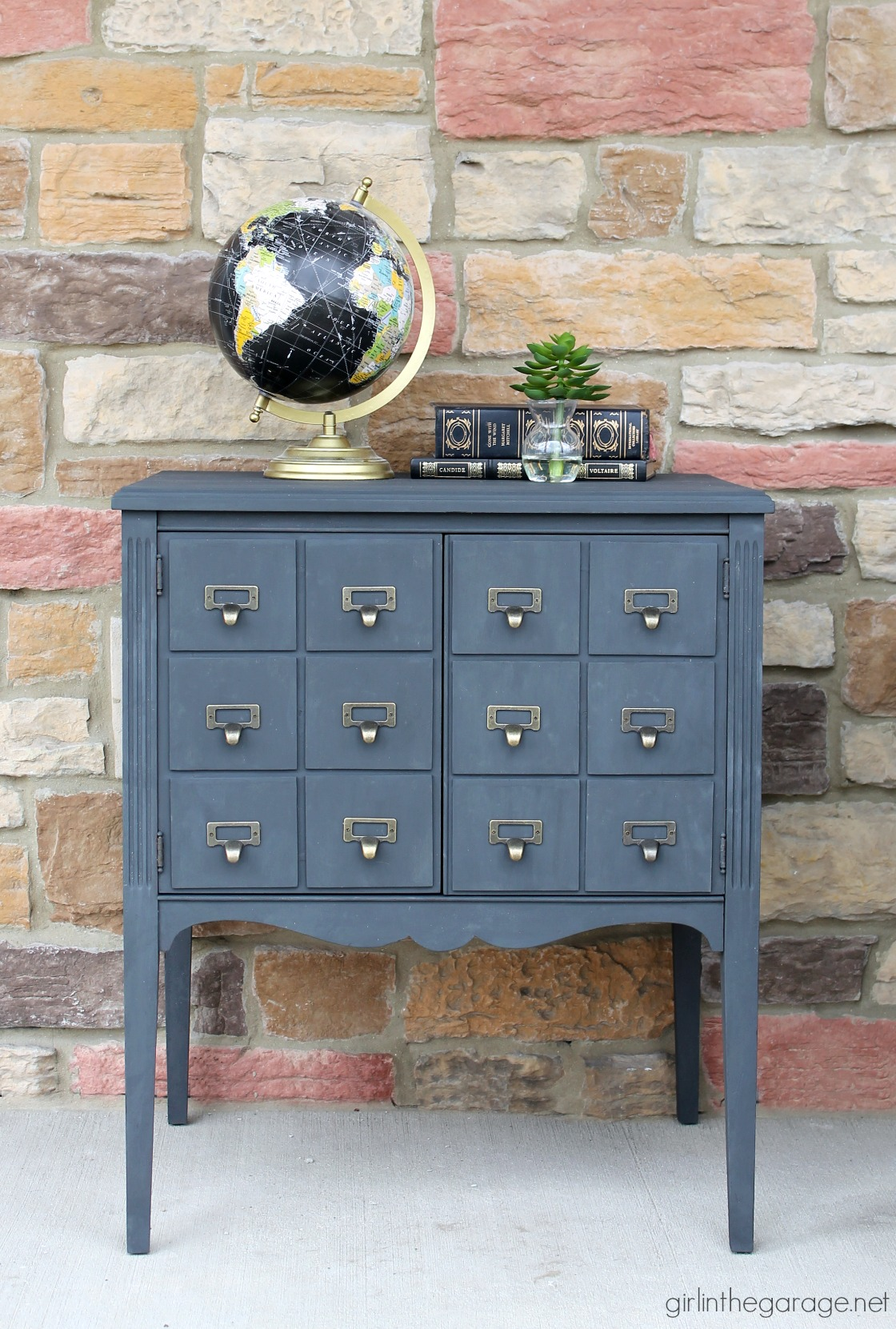 Upcycled Record Cabinet To Faux Card Catalog Girl In The