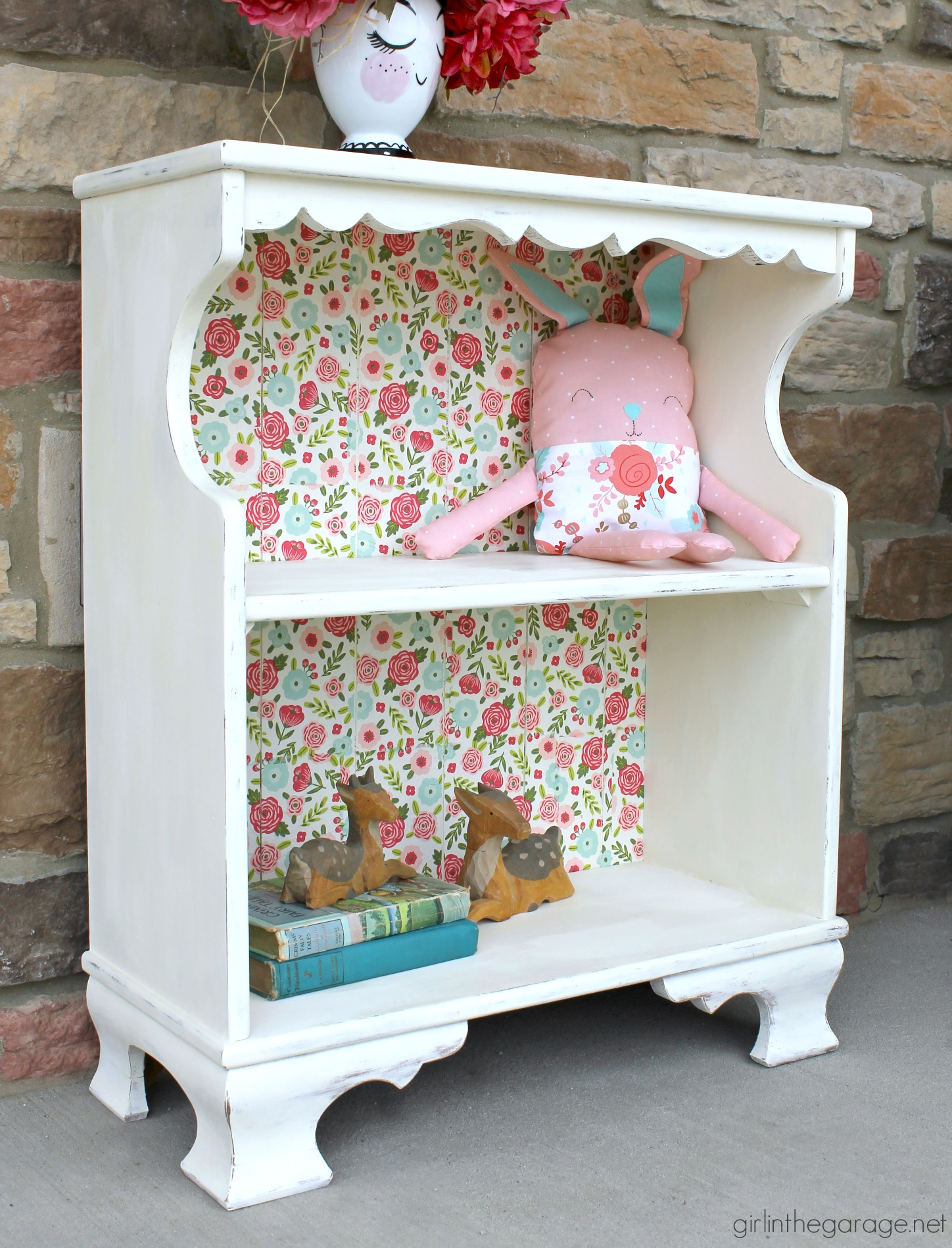 Rabbit Runn Designs A Kitchen Makeover: Floral Decoupage Bookcase With Napkins
