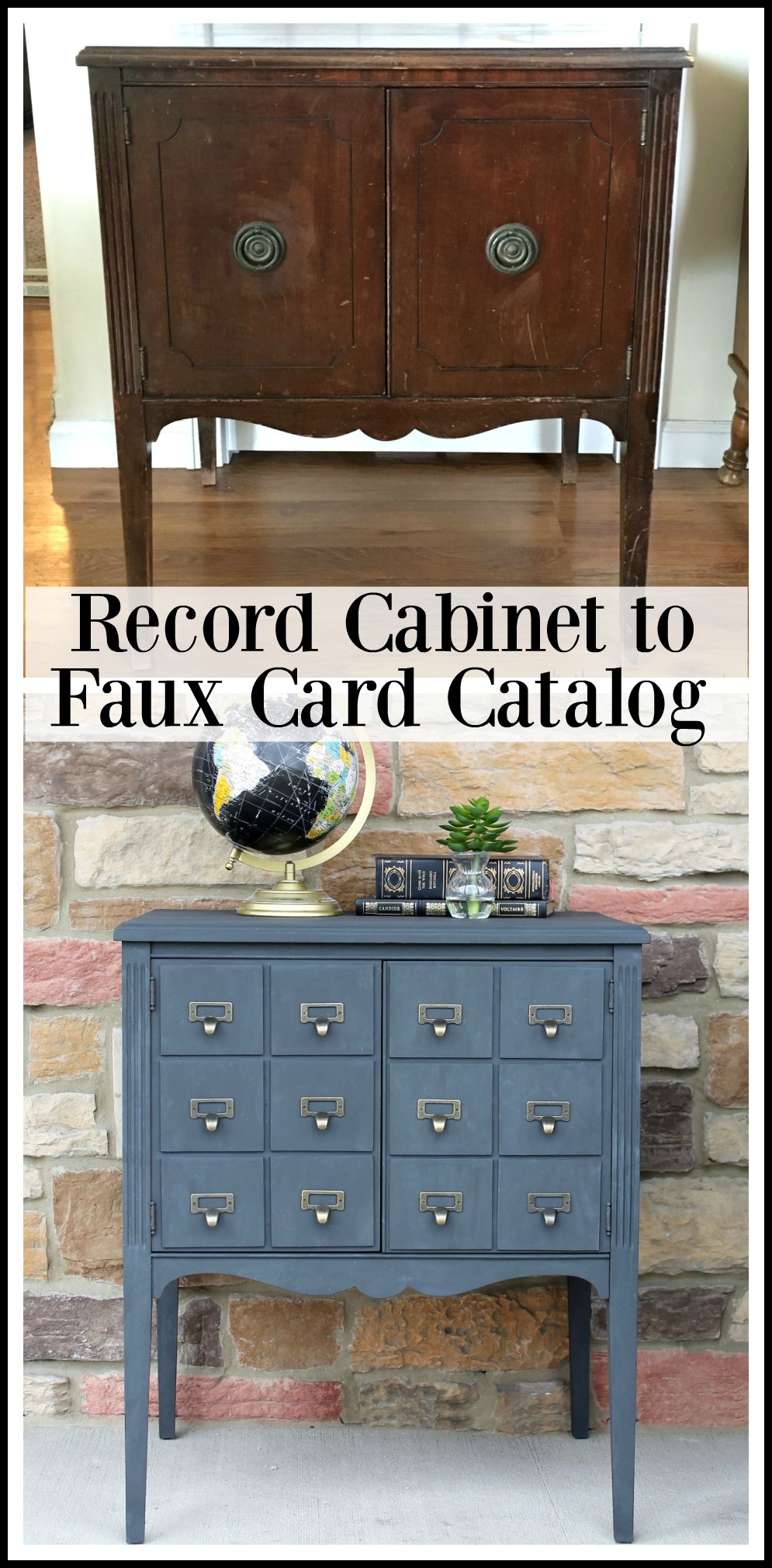 Upcycled record cabinet to faux card catalog - Girl in the Garage