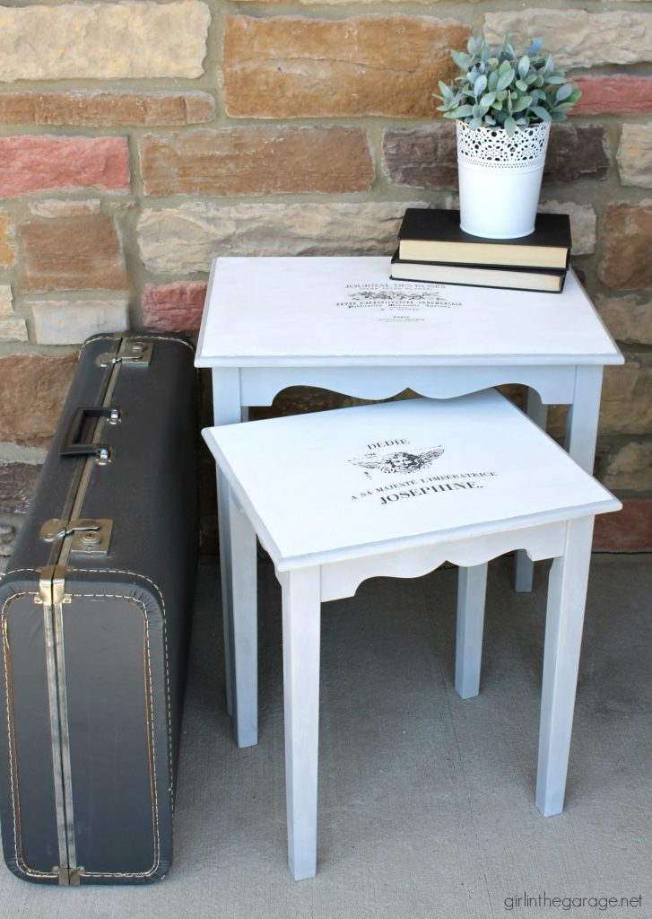 Nesting tables makeover with Chalk Paint and French image transfer. DIY tutorial by Girl in the Garage