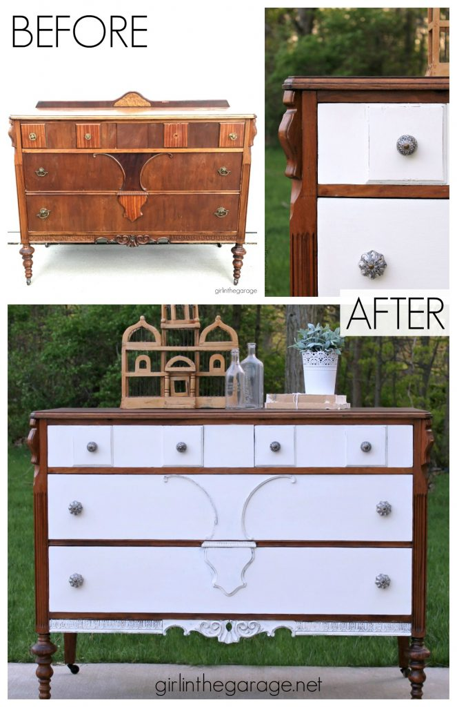 DIY Thrifted antique dresser makeover with stain and Chalk Paint - a two-tone makeover tutorial by Girl in the Garage
