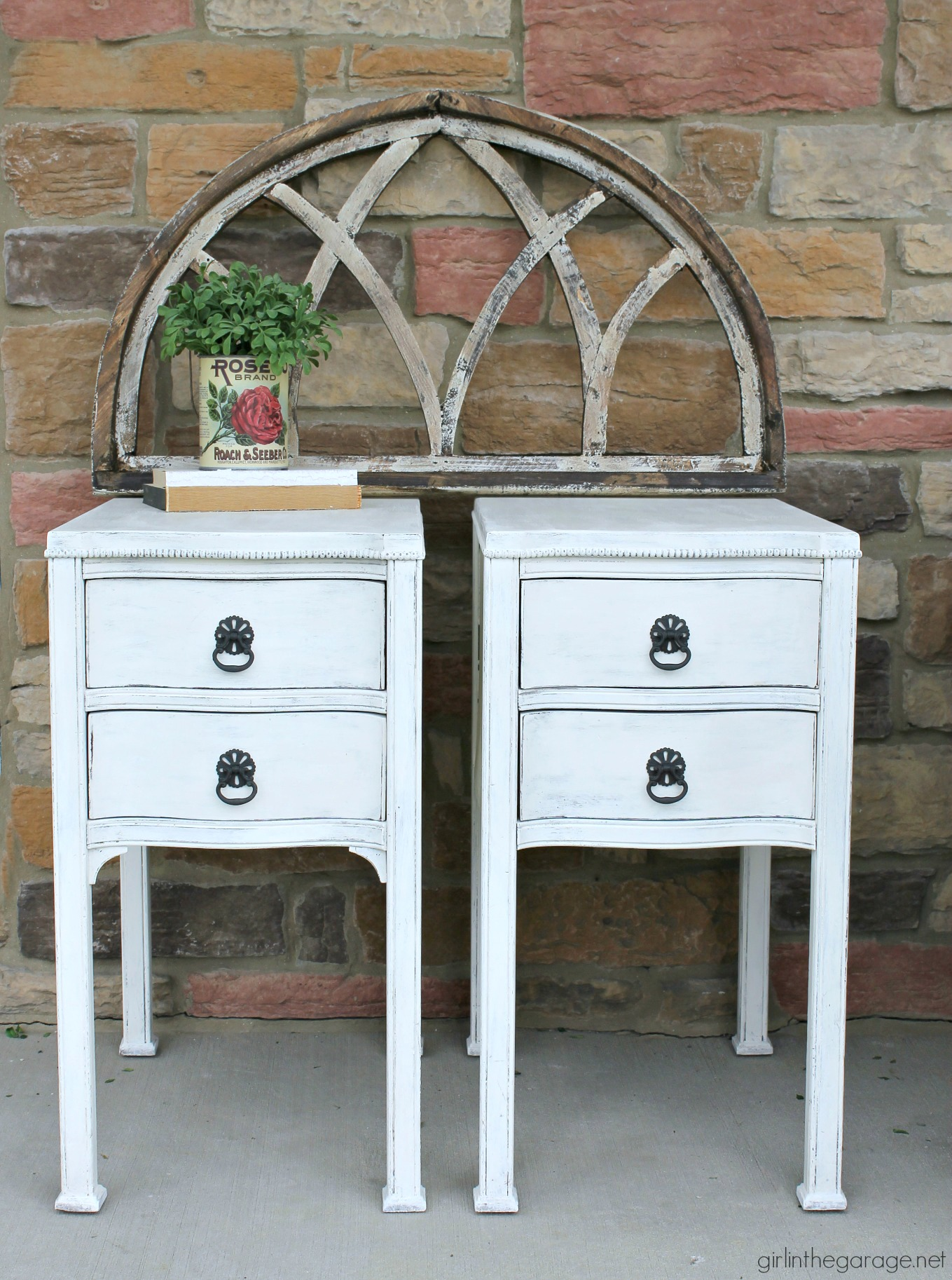 Thrifted antique nightstands updated with layered Chalk Paint and distressed for a classic shabby chic finish. DIY tutorial by Girl in the Garage