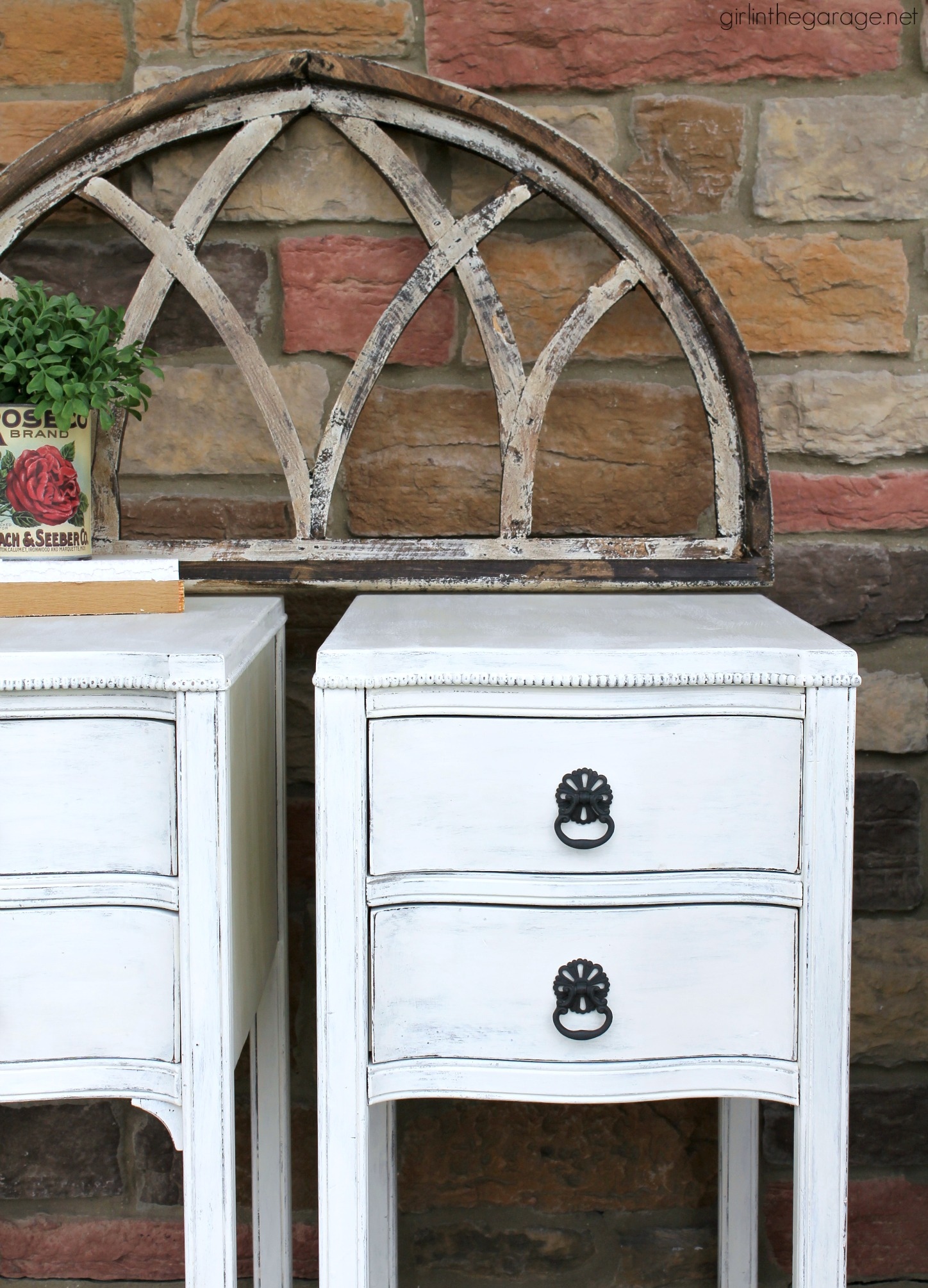 Thrifted updated antique nightstands with layered Chalk Paint and distressed for a classic shabby chic finish. DIY tutorial by Girl in the Garage