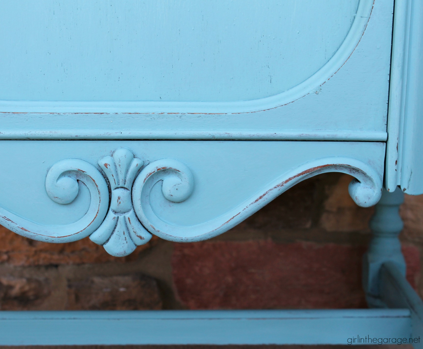 Thrifted repurposed radio cabinet makeover to storage cabinet with shelves. Annie Sloan Chalk Paint in Provence turquoise. DIY tutorial by Girl in the Garage.