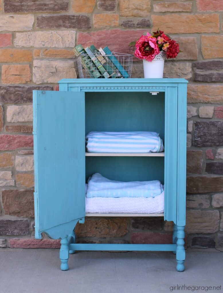 Repurposed radio cabinet in turquoise - Girl in the Garage