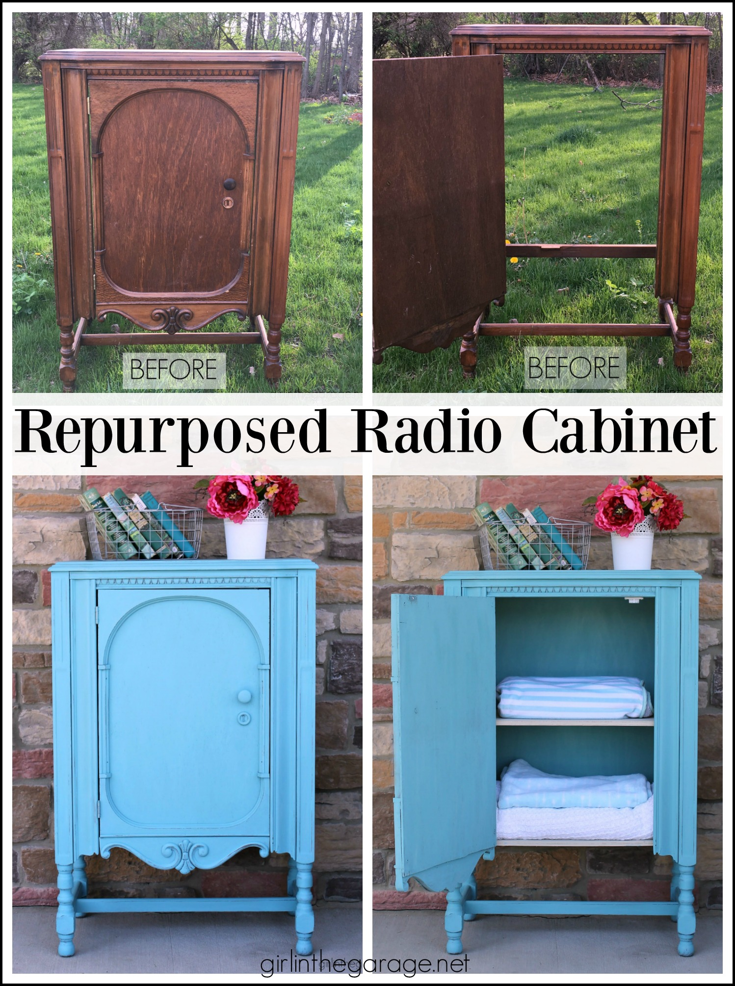 Thrifted repurposed radio cabinet makeover to storage cabinet with shelves. Annie Sloan Chalk Paint in Provence. DIY tutorial by Girl in the Garage.