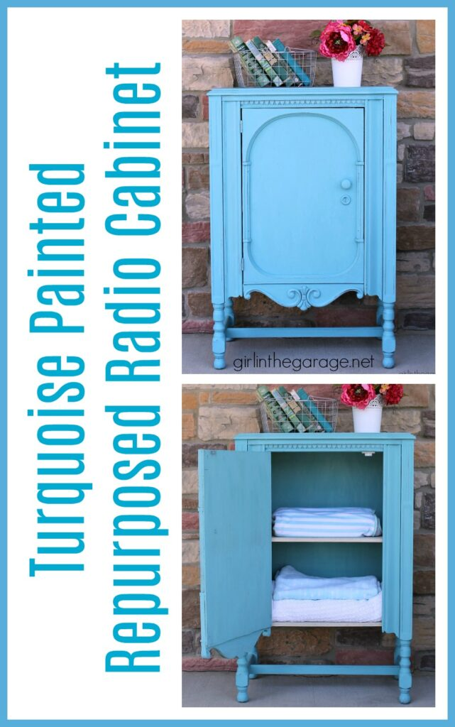 Thrifted radio cabinet makeover to storage cabinet with shelves. Painted in Annie Sloan Chalk Paint in Provence turquoise. DIY tutorial by Girl in the Garage.
