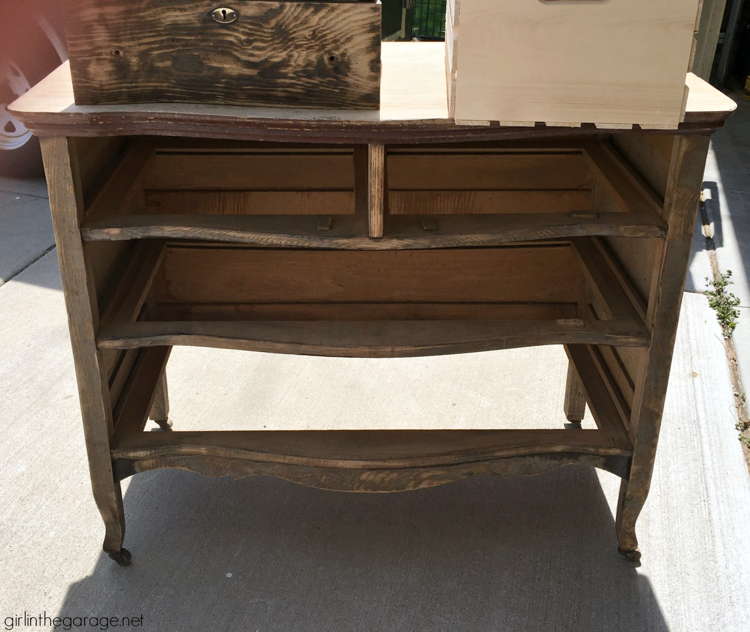Antique serpentine dresser makeover - DIY tutorial with new stain and Annie Sloan Chalk Paint - Girl in the Garage