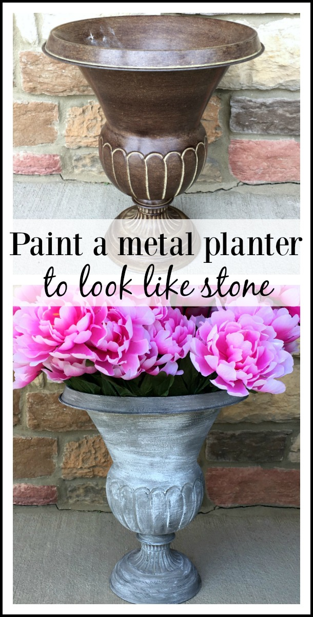 How to paint metal to look like stone - A $1.00 thrifted urn planter makeover DIY tutorial by Girl in the Garage