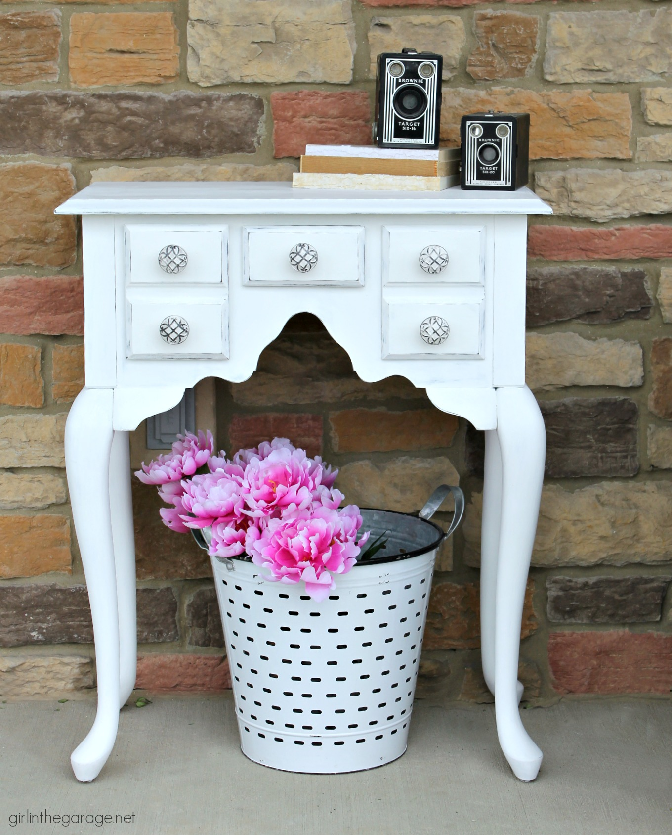 Thrifted console table makeover with Annie Sloan Chalk Paint and decoupage drawers - How to hide ink spills in drawers - DIY tutorial by Girl in the Garage