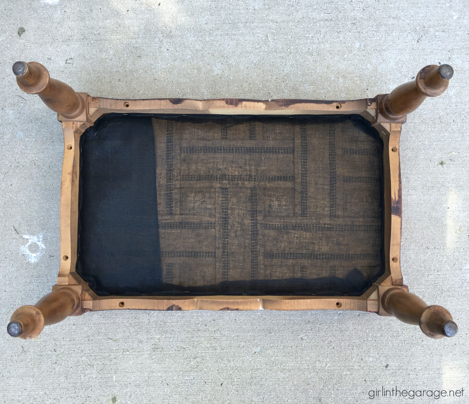 Thrifted repurposed footstool makeover to DIY lap table - How to make a planked table top - How to whitewash the easy way - by Girl in the Garage