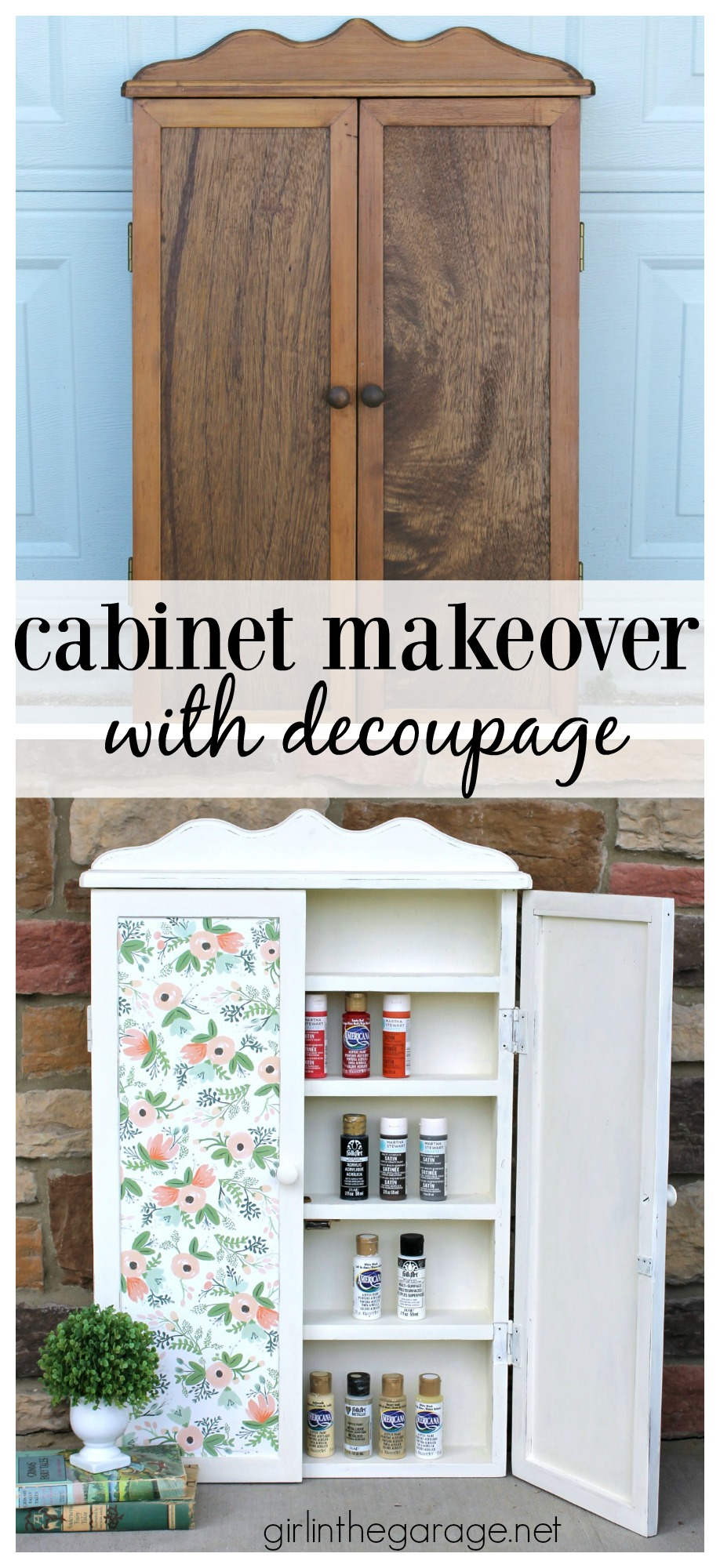 Yard sale cabinet makeover with decoupage - Girl in the Garage