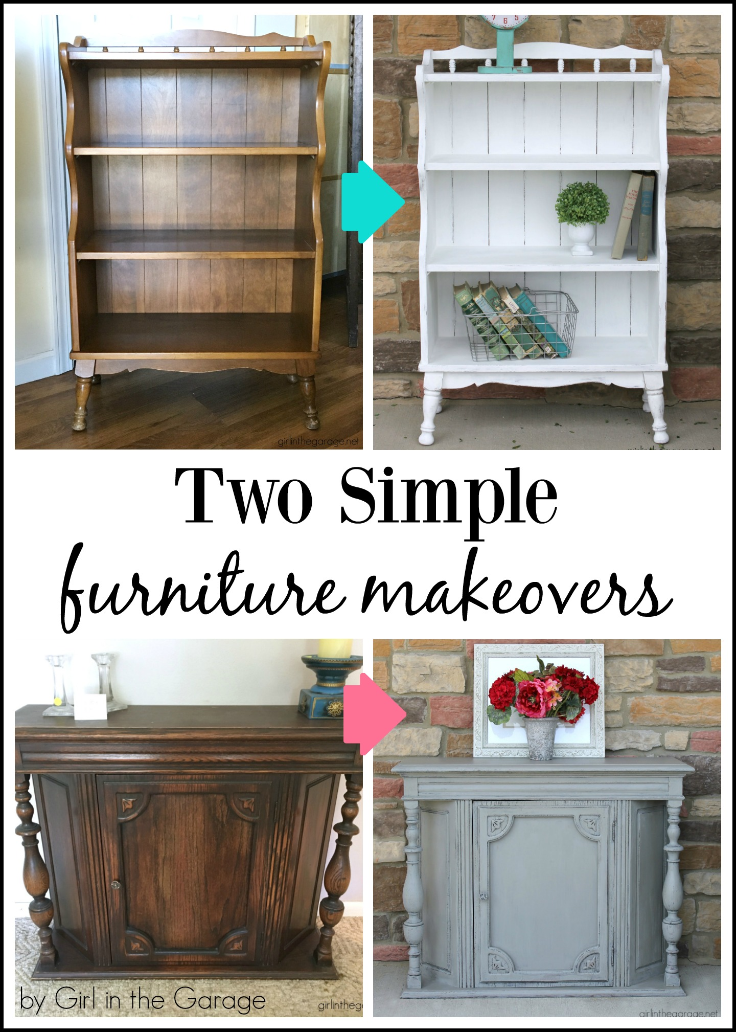 DIY Simple furniture makeovers - transform thrifted furniture into refreshed pieces with some TLC and paint. Tutorial by Girl in the Garage