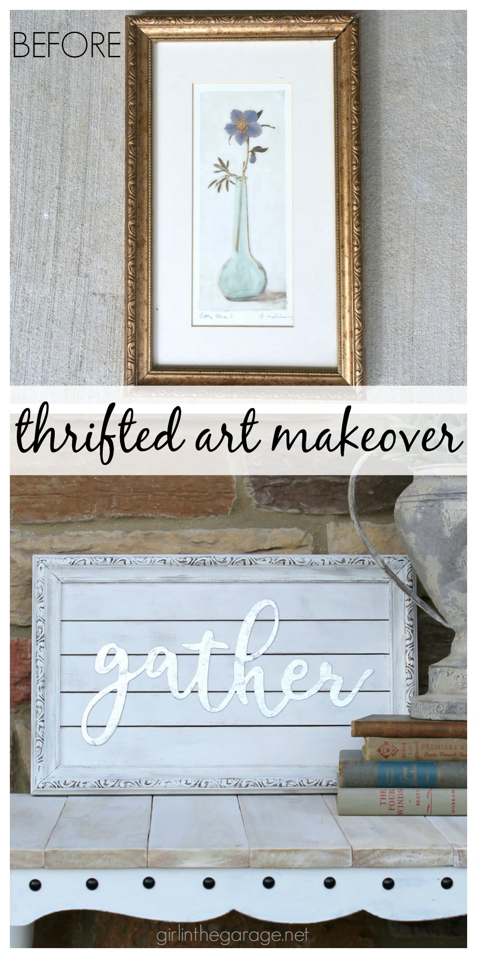 Thrifted art makeover repurposed into a planked Gather sign with farmhouse style. Easy DIY tutorial by Girl in the Garage.